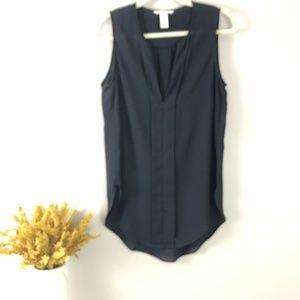 H&M Semi Sheer Navy Sleeveless Blouse - 2